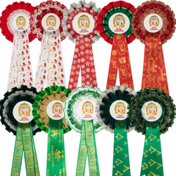 Christmas Rosettes (Pack of 10)