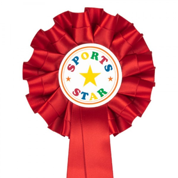 Red Sports Star Rosettes (Pack of 10)
